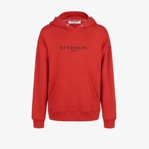 GIVENCHY PARIS Red HOODIE Small